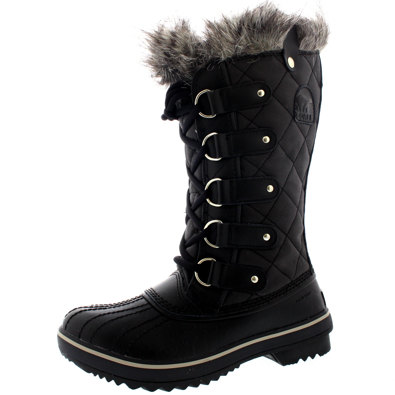 Womens Sorel Tofino Leather Snow Black Winter Fur Lace Up