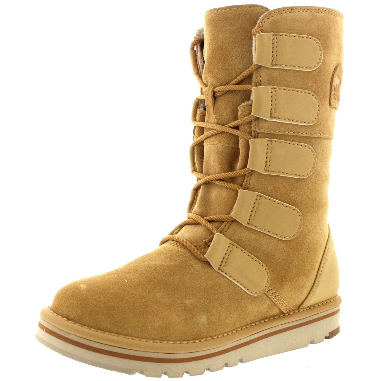 pretty nice 649a0 9c8b3 Womens-Sorel-The-Newbie-Lace-Suede-Fur-Lined-