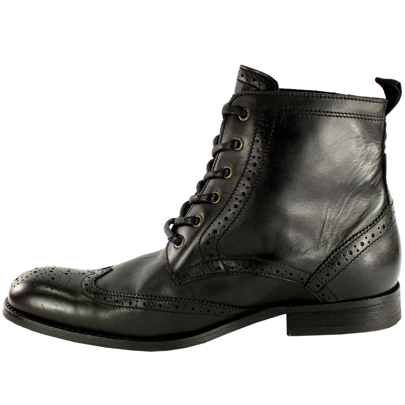 H By Hudson Mens Lace-Up Boots Black