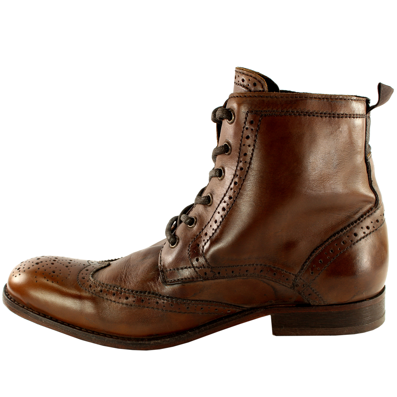 ea88efe6f8ea Mens H By Hudson Angus Brogue Leather Lace Up Smart Ankle Boots UK ...