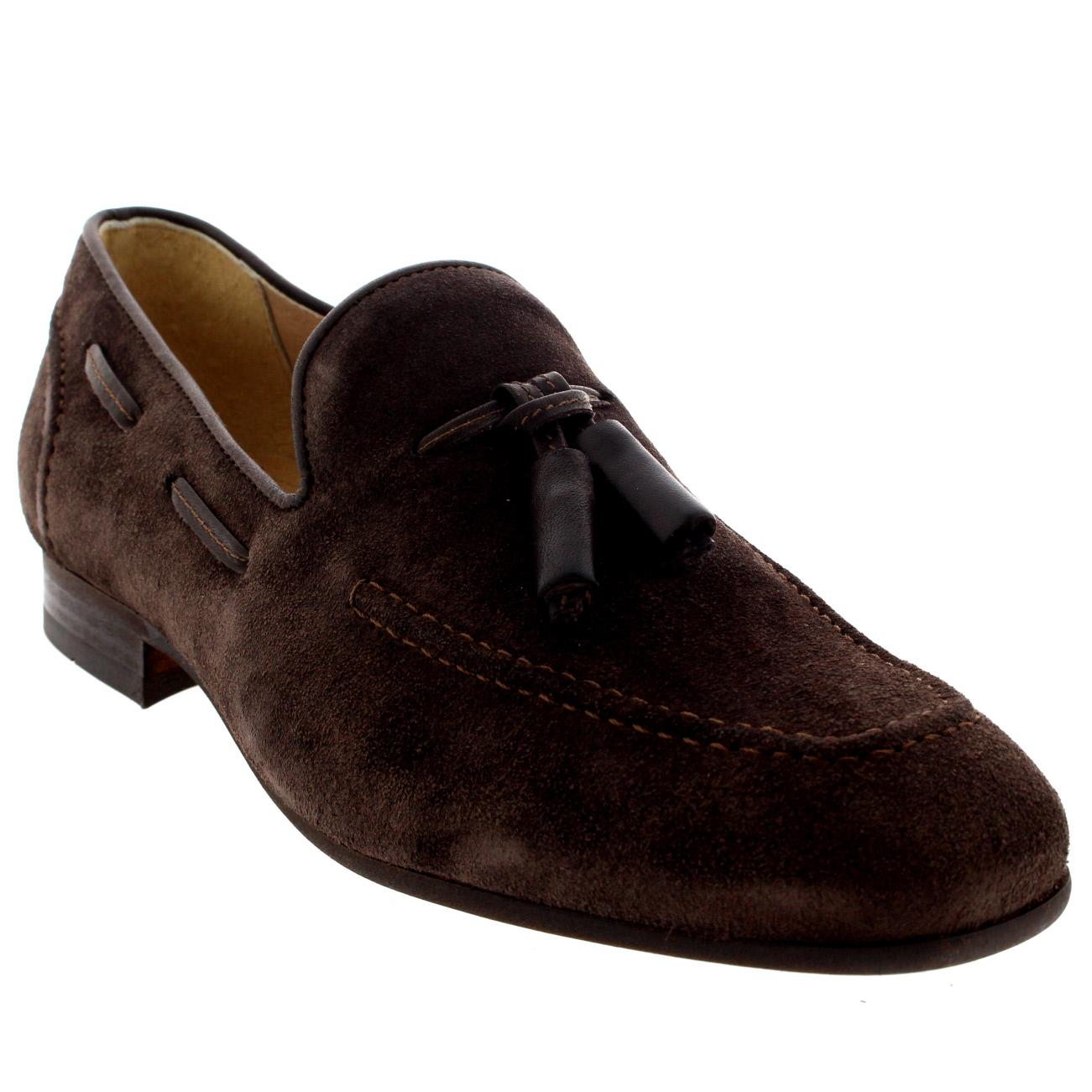 4818666bfc8c Mens H By Hudson Pierre Suede Smart Slip On Work Loafers Tassel Shoes UK  6-12
