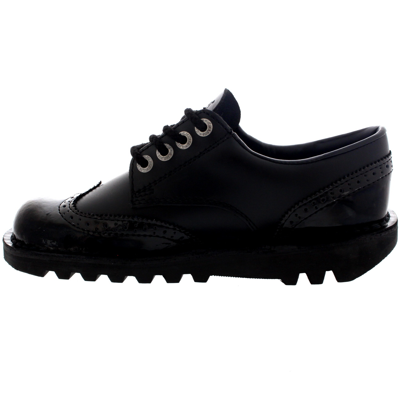 Womens Kickers Kick Lo Brogue Core Leather Patent Black School Work Shoes UK 3-8