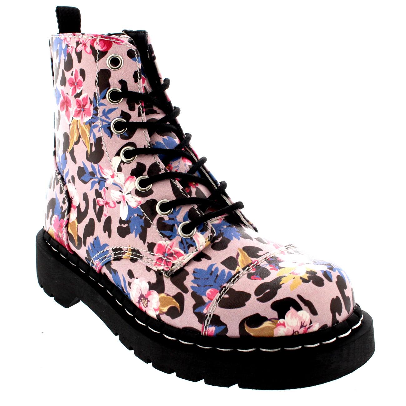 T.U.K Anarchic 7 Eye Boot Leopard Floral Prints