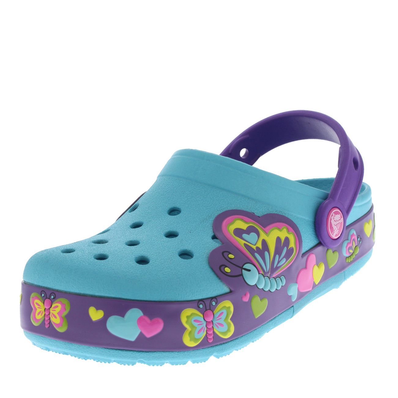 Kids Girls Crocs Croslights Butterfly Clogs
