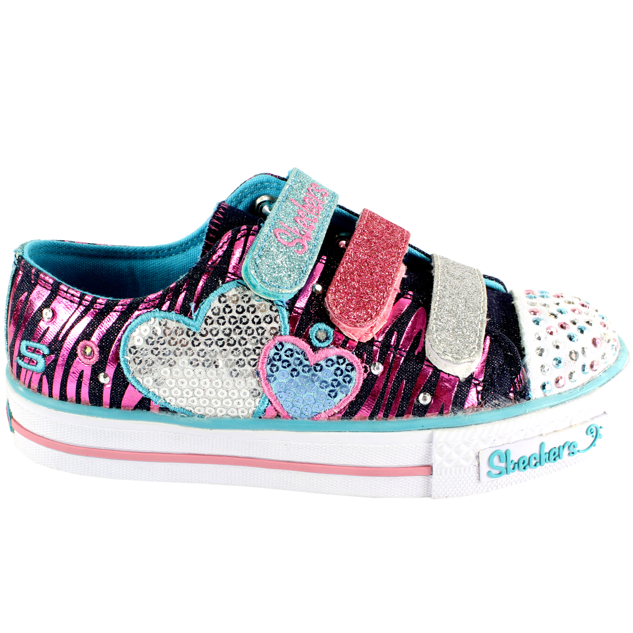ee8f82ca446c Kids Girls Skechers Triple Time Twinkle Toes Velcro Light Up Trainers UK  9.5-6
