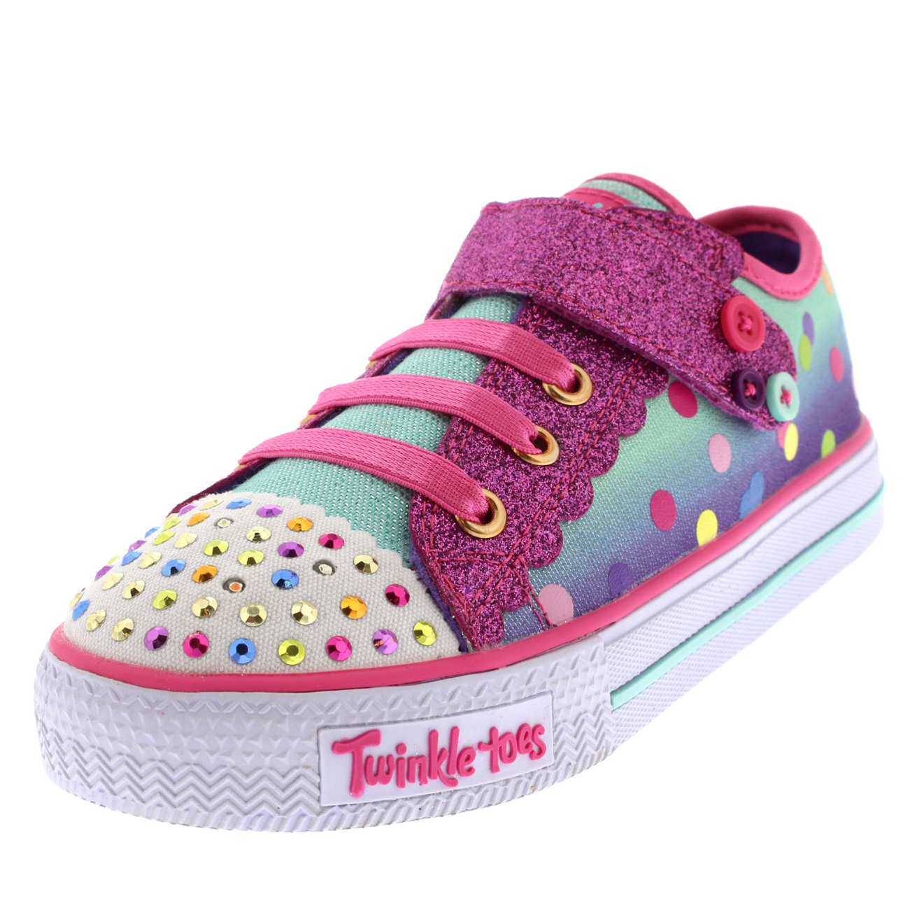 Infant Girls Skechers Twinkle Toes Shuffles Dazzle Dots