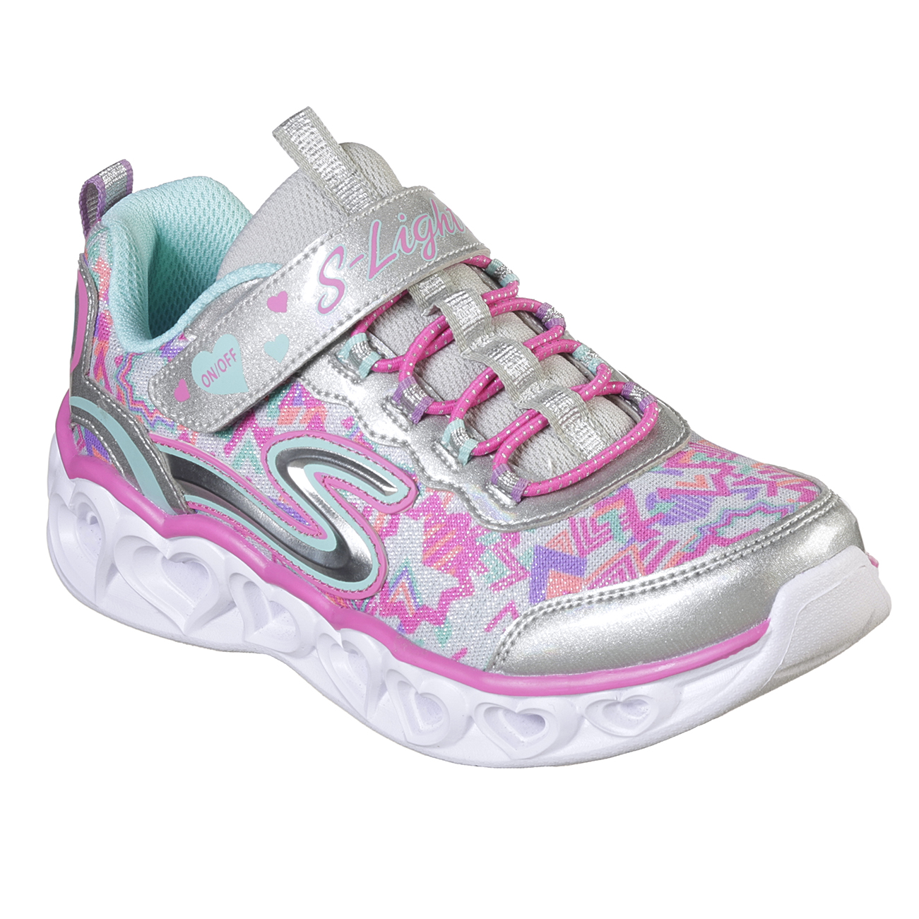 Kids Girls Skechers Heart Lights