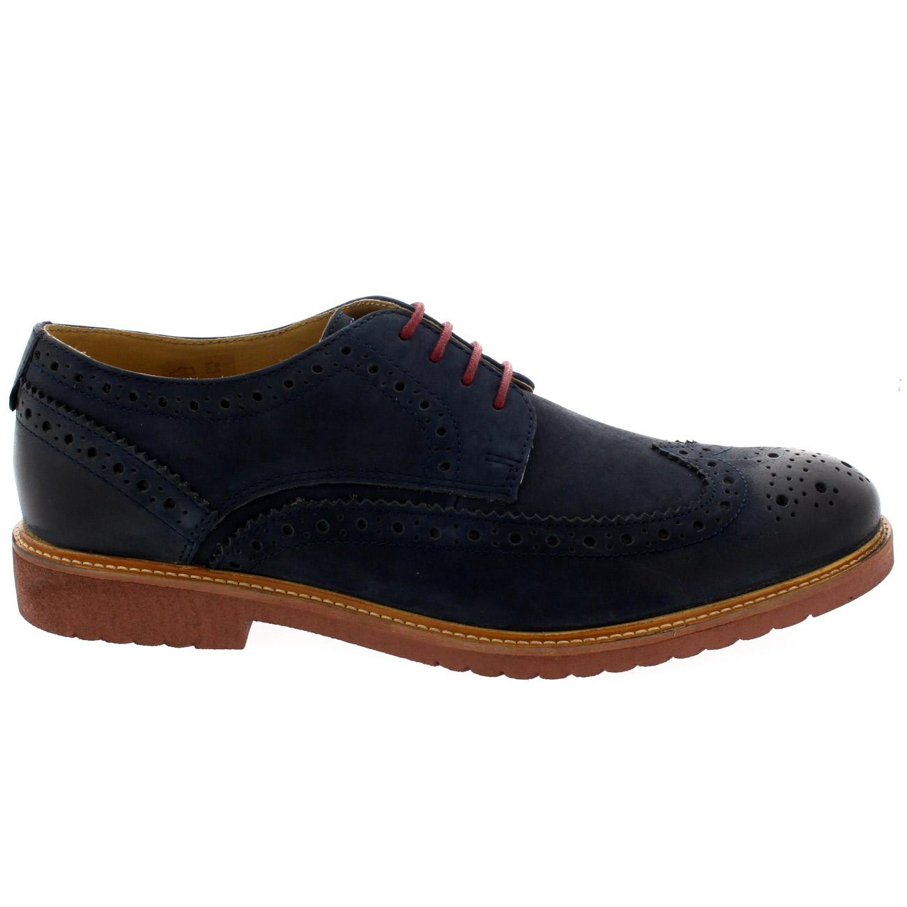 Chaussures-11 En Cuir Bleu Marine Noisette Ikon Mens Richelieu Formelle Occasionnels jeu bonne vente vgpmYo