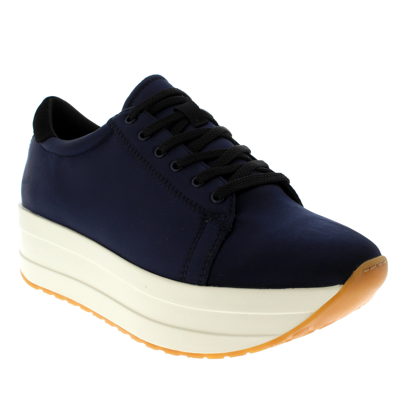 9163562fa7 Details about Womens Vagabond Casey Black Shiny Satin Fashion Platform  Wedge Trainers UK 3-9