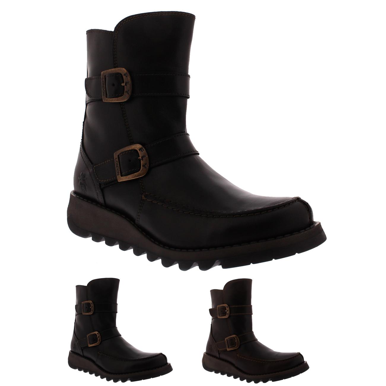 damen Fly London Sann Leather Work Fashion Casual Wedge Heel Ankle Stiefel UK 3-10
