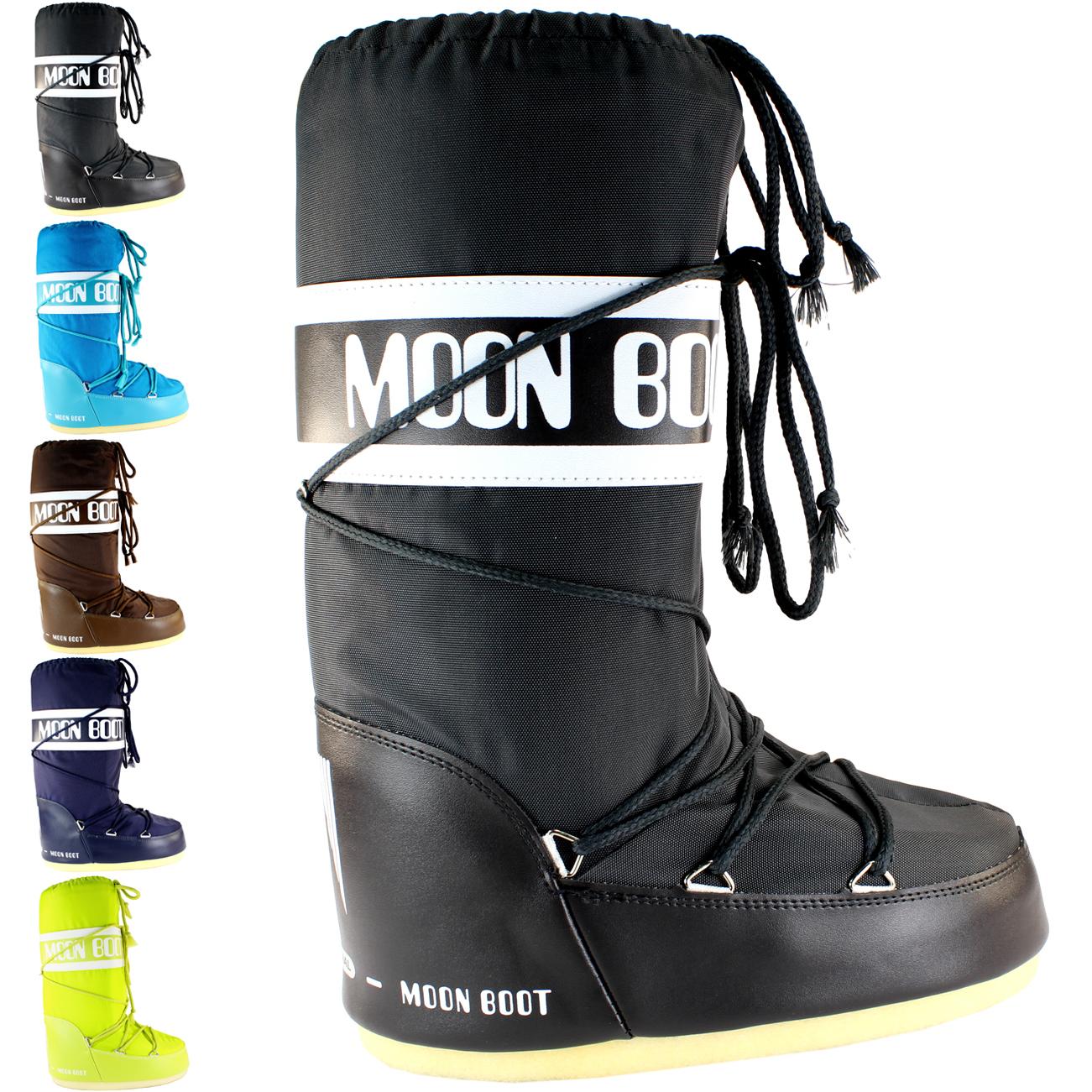 Da Donna Tecnica Moon Boot Nylon Impermeabile Inverno Neve Pioggia Sci Stivali Sking 3-8- Bianco Puro E Traslucido
