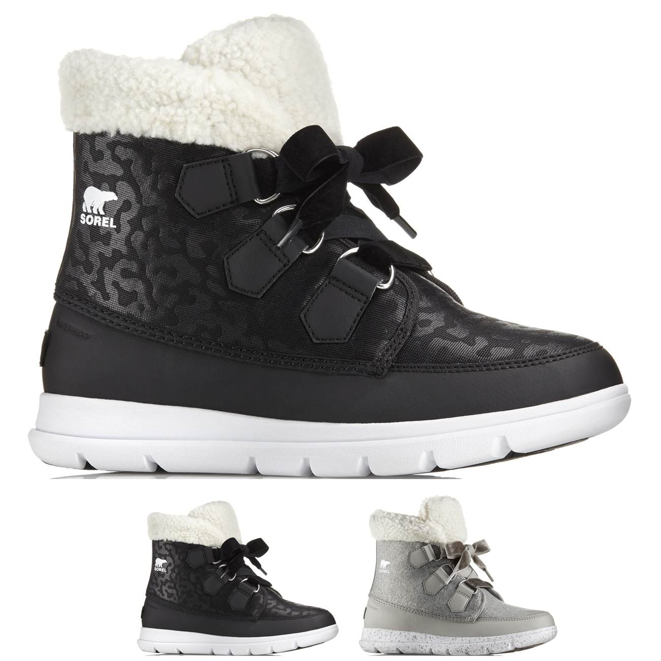 Womens Sorel Explorer Carnival Waterproof Nylon Winter Fleece Ankle Boots UK 3-9
