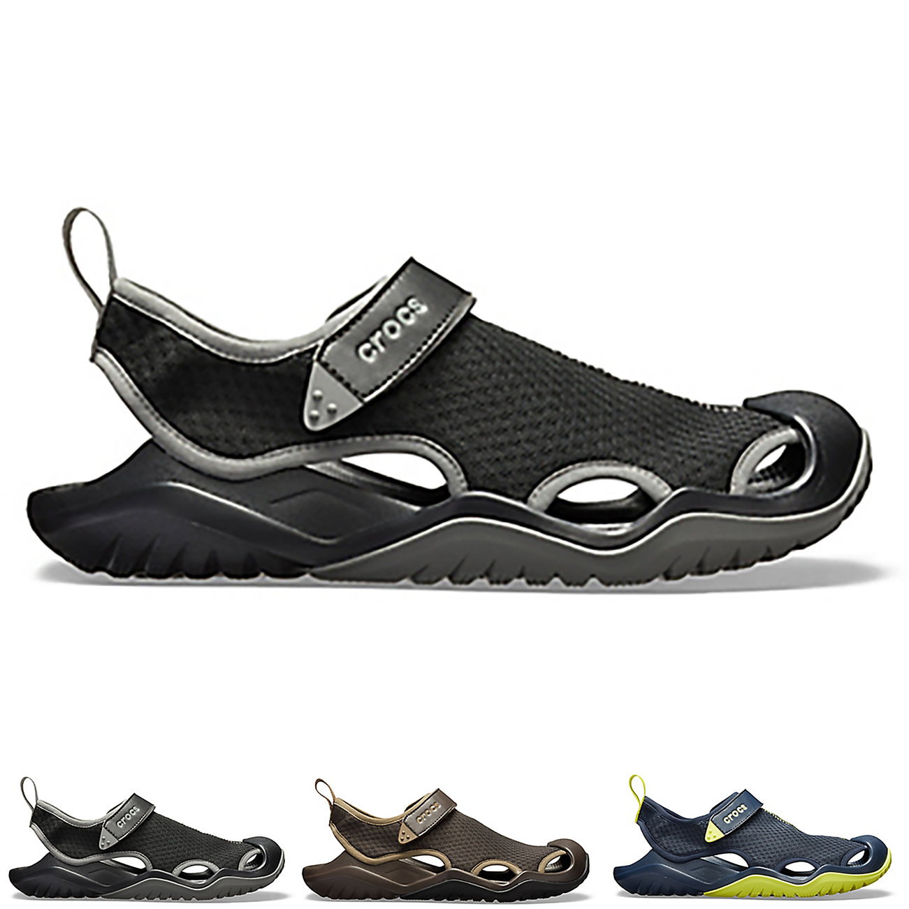 3618cc0cc909c Image is loading Mens-Crocs-Swiftwater-Mesh-Deck-Lightweight-Water-Friendly-