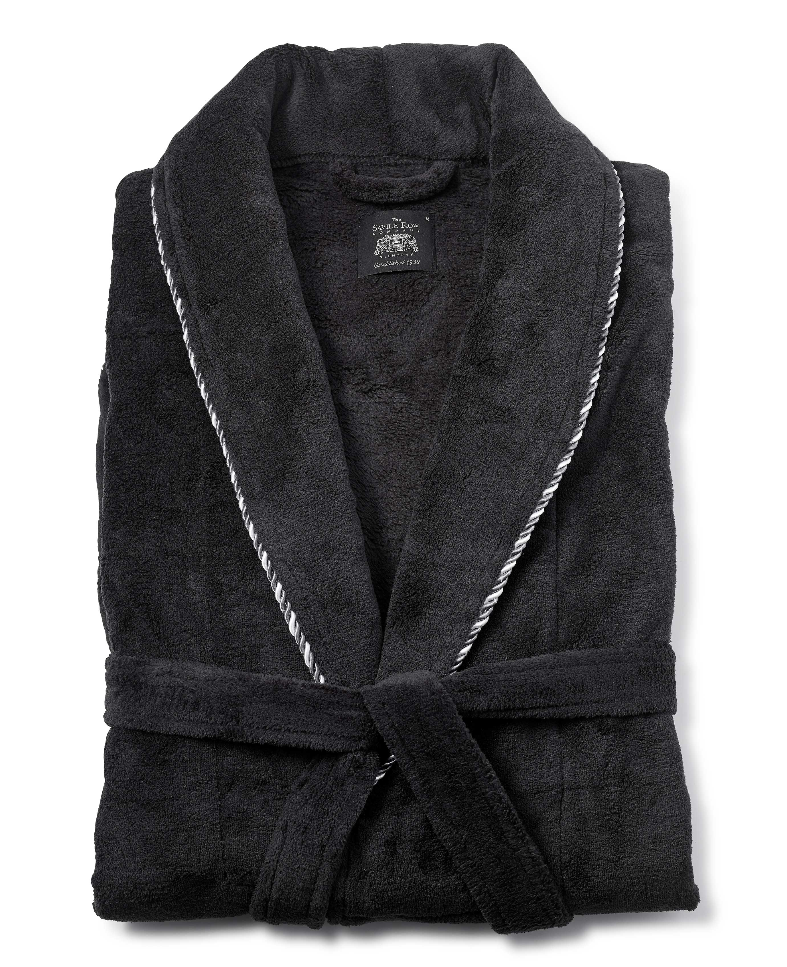 Savile Row Men\'s Black Fleece Rope Edge Dressing Gown | eBay
