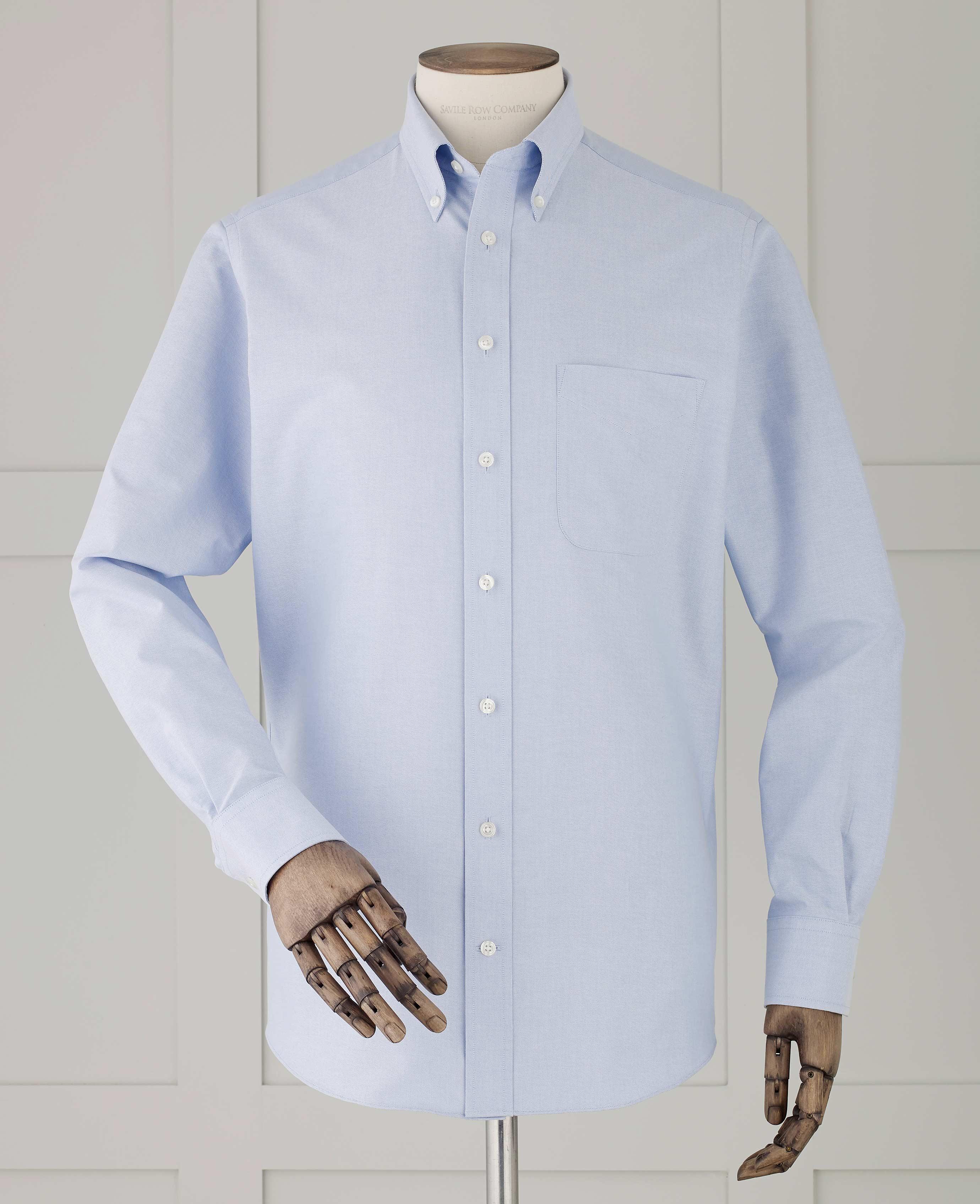 Savile Row Mens Blue Oxford Classic Fit Shirt Single Cuff Ebay