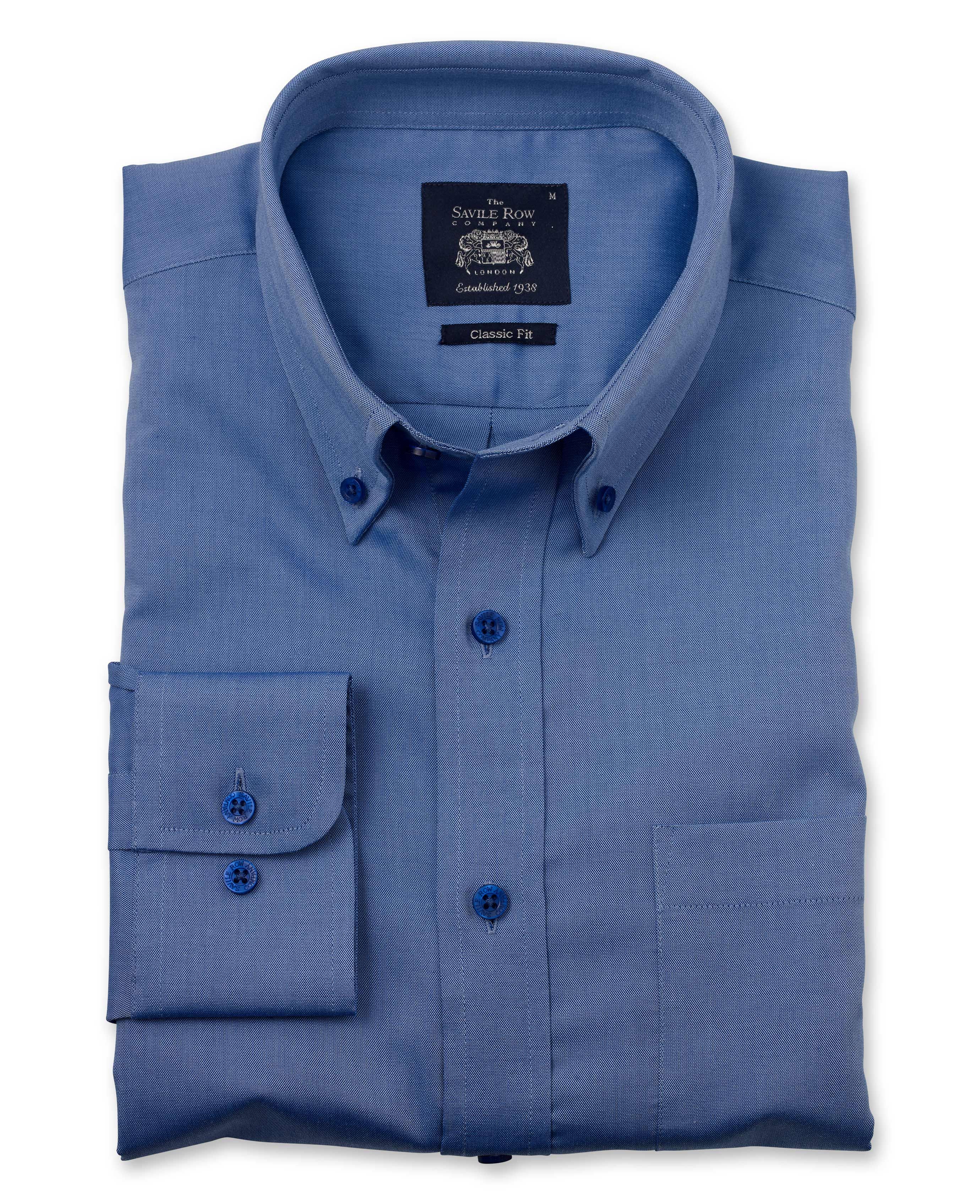 64b3a795d92 Savile Row Men s Mid Blue Pinpoint Classic Fit Button-Down Shirt ...