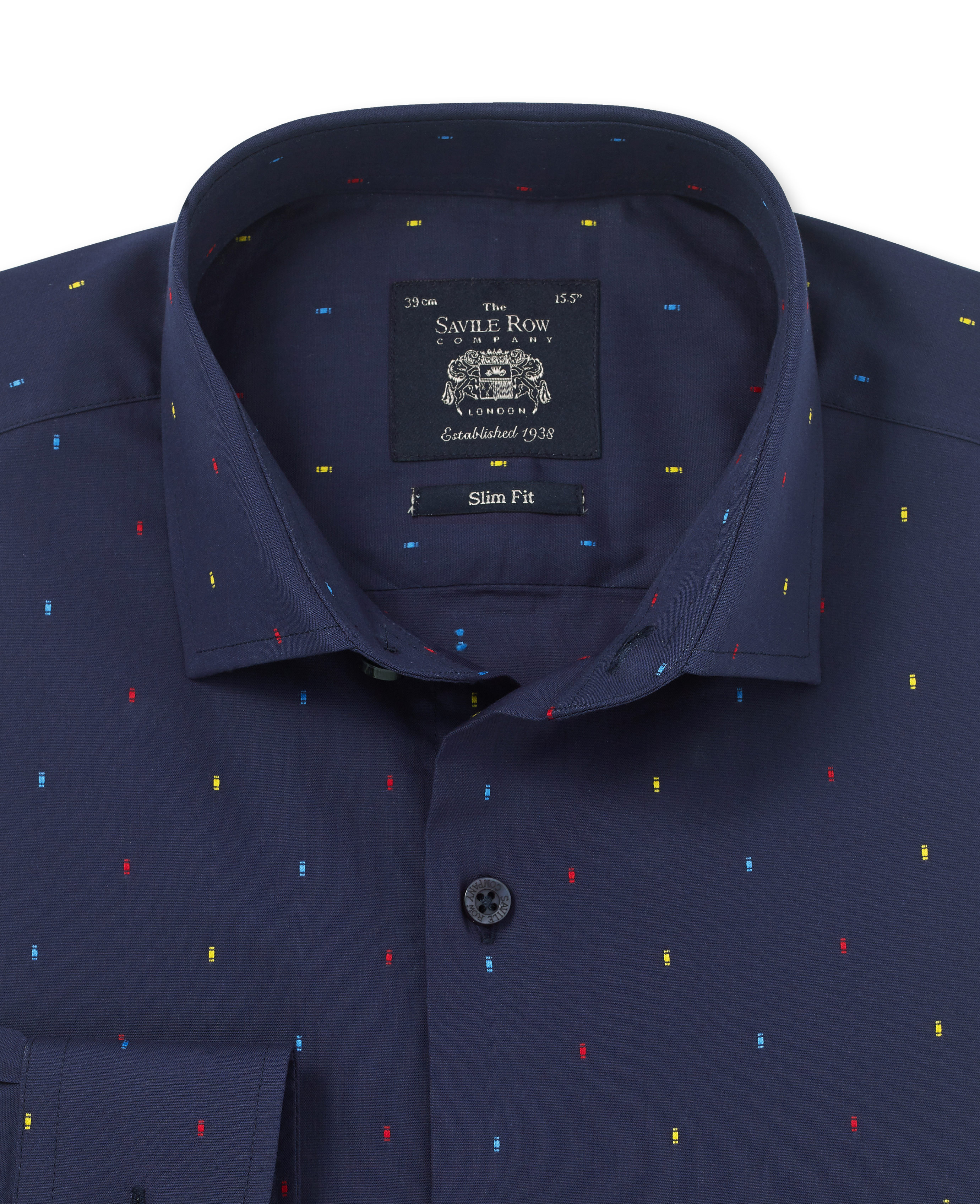 Savile Row Men's Navy Clip Dot Slim Fit Shirt - Single Cuff
