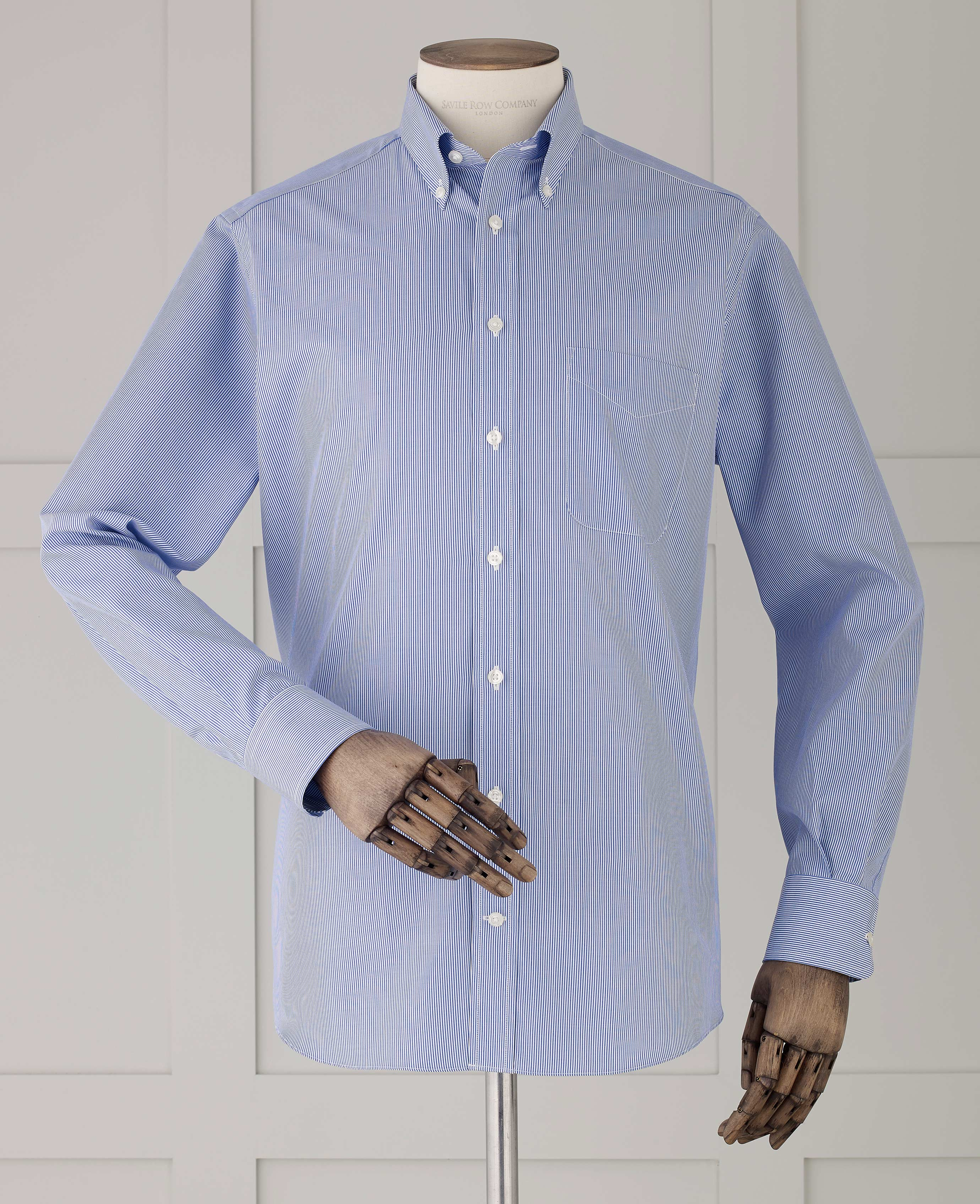 18feb3b3 Savile Row Men's Navy Fine Bengal Stripe Classic Fit Shirt - Single Cuff