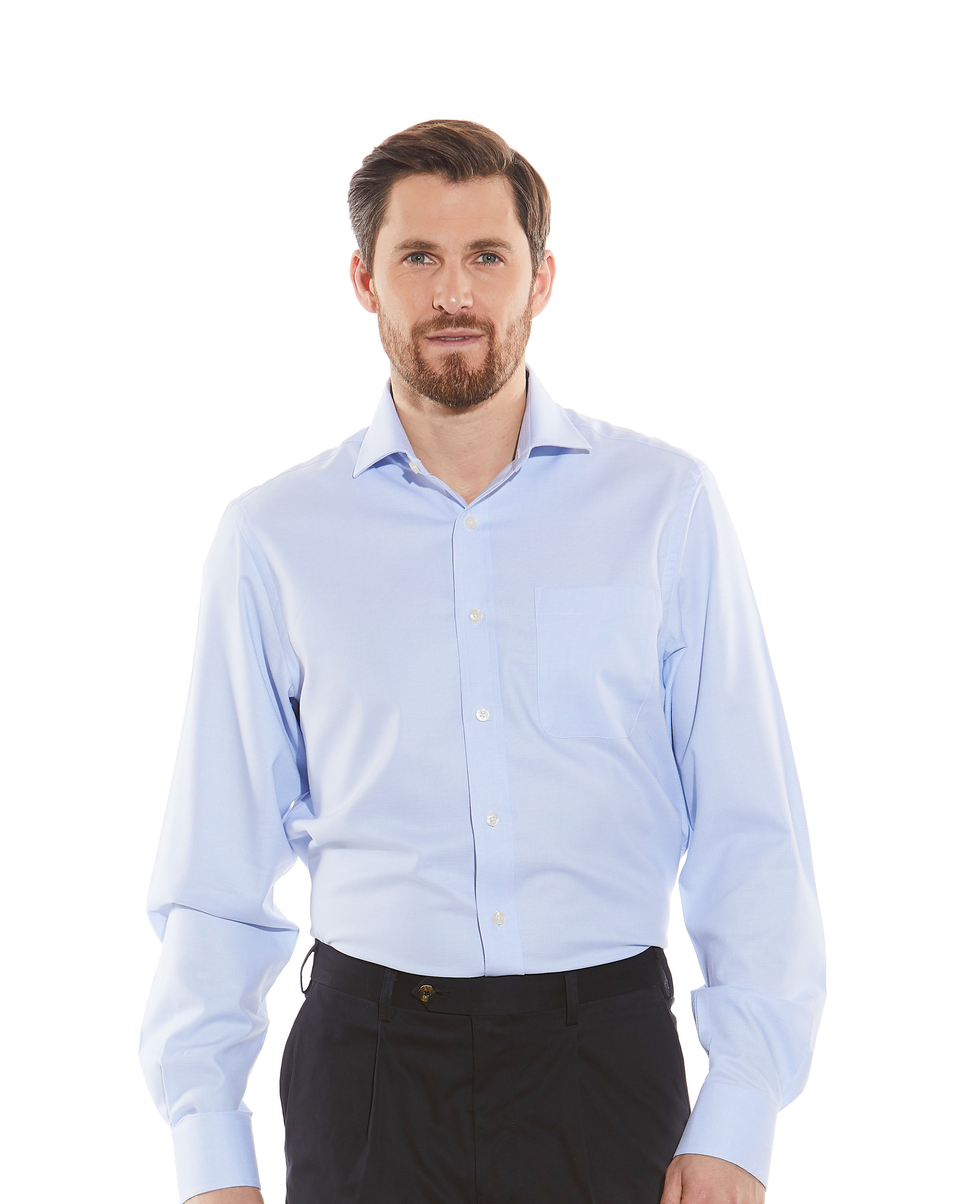 Savile-Row-Men-039-s-Sky-Blue-Textured-Dobby-Classic-Fit-Casual-Shirt-Single-Cuff