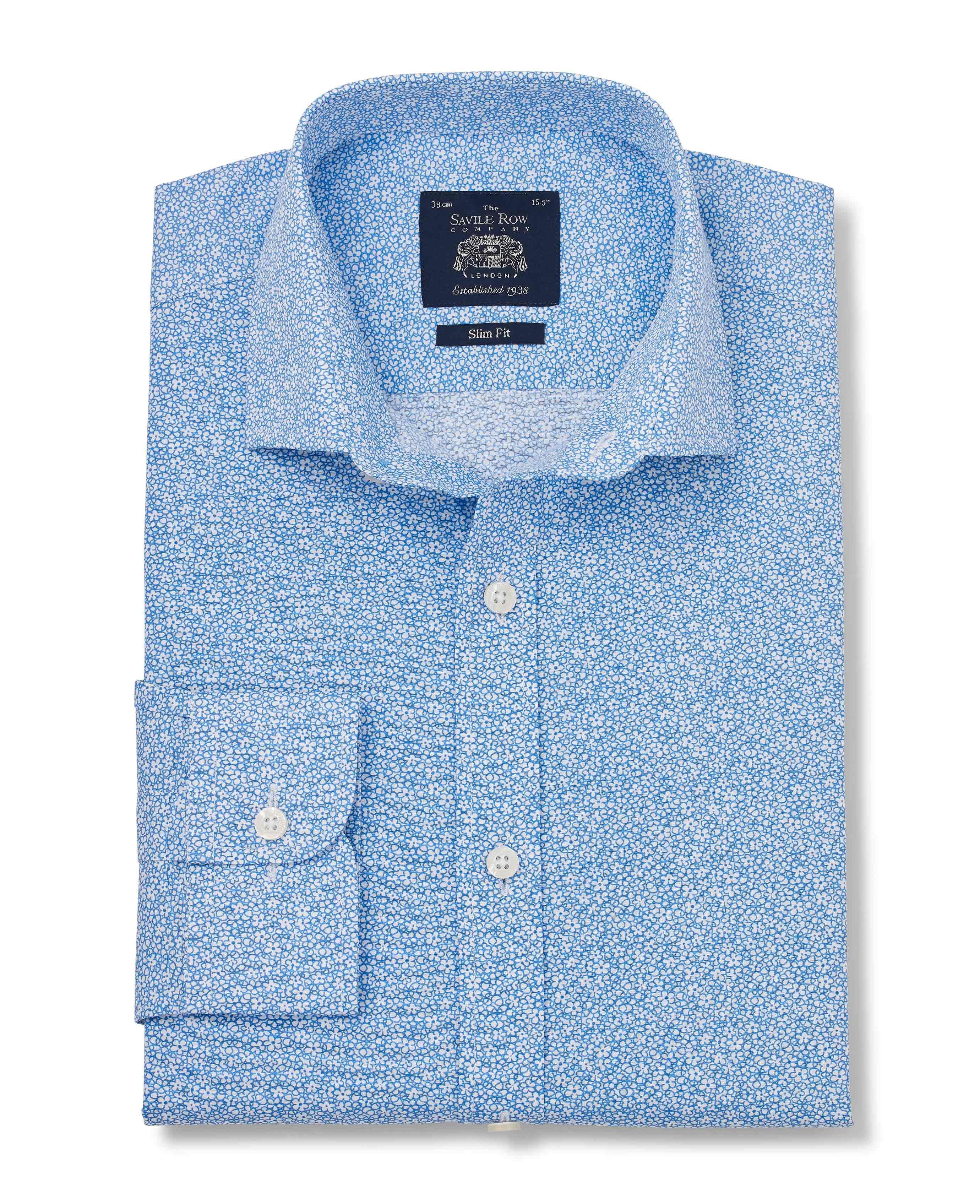 Savile-Row-Men-039-s-White-Blue-Floral-Print-Slim-Fit-Shirt-Single-Cuff