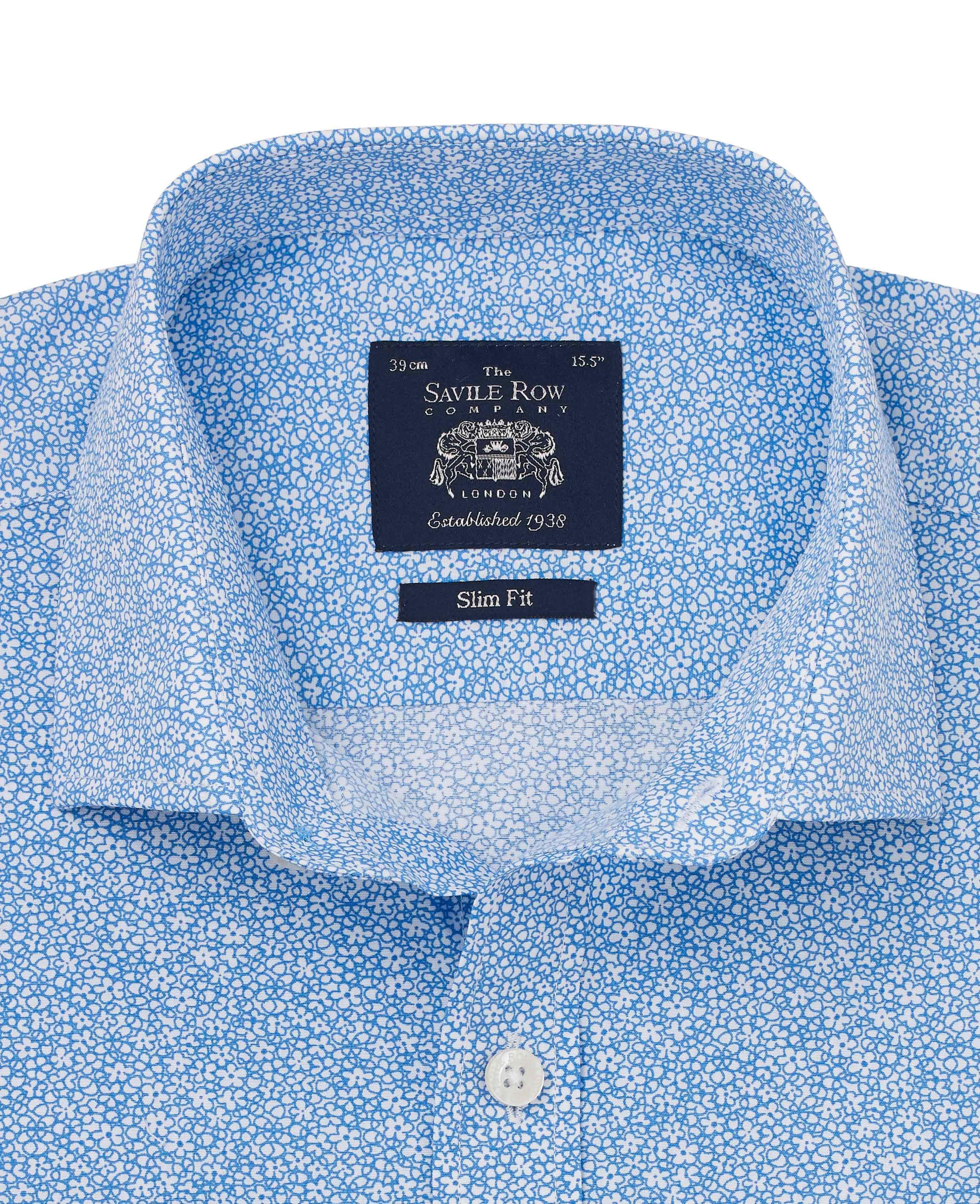 Savile-Row-Men-039-s-White-Blue-Floral-Print-Slim-Fit-Shirt-Single-Cuff thumbnail 3