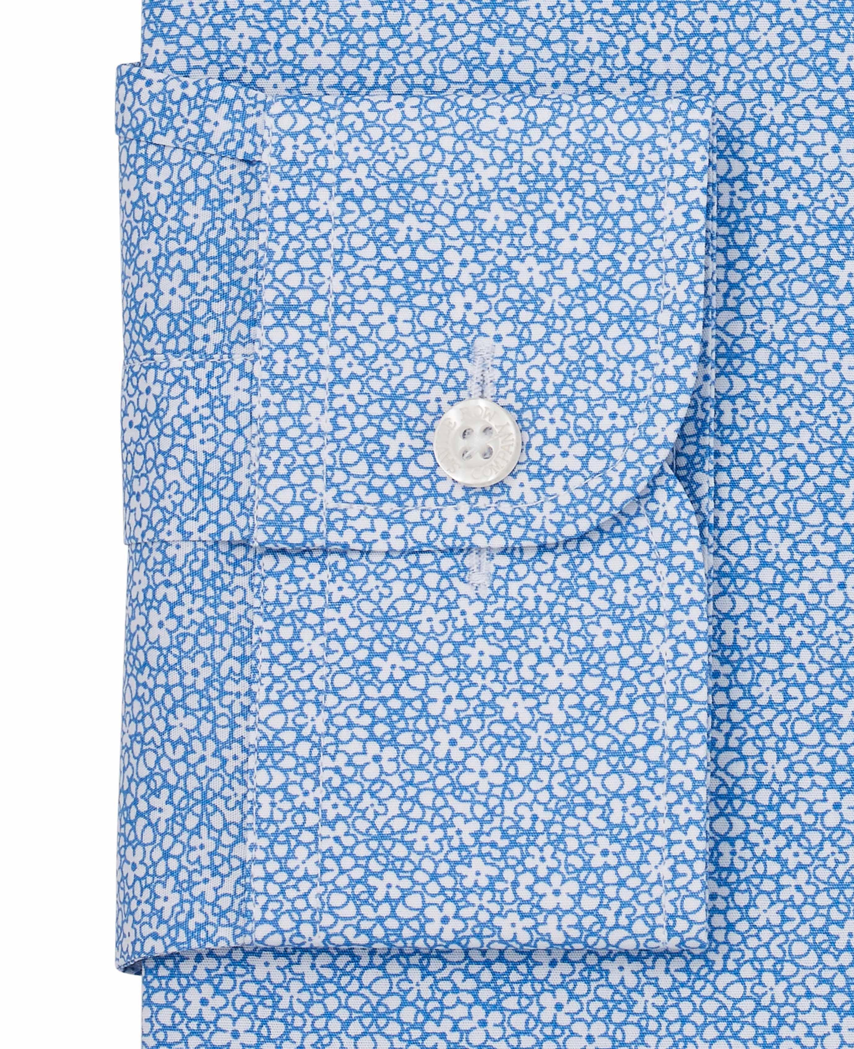 Savile-Row-Men-039-s-White-Blue-Floral-Print-Slim-Fit-Shirt-Single-Cuff thumbnail 4