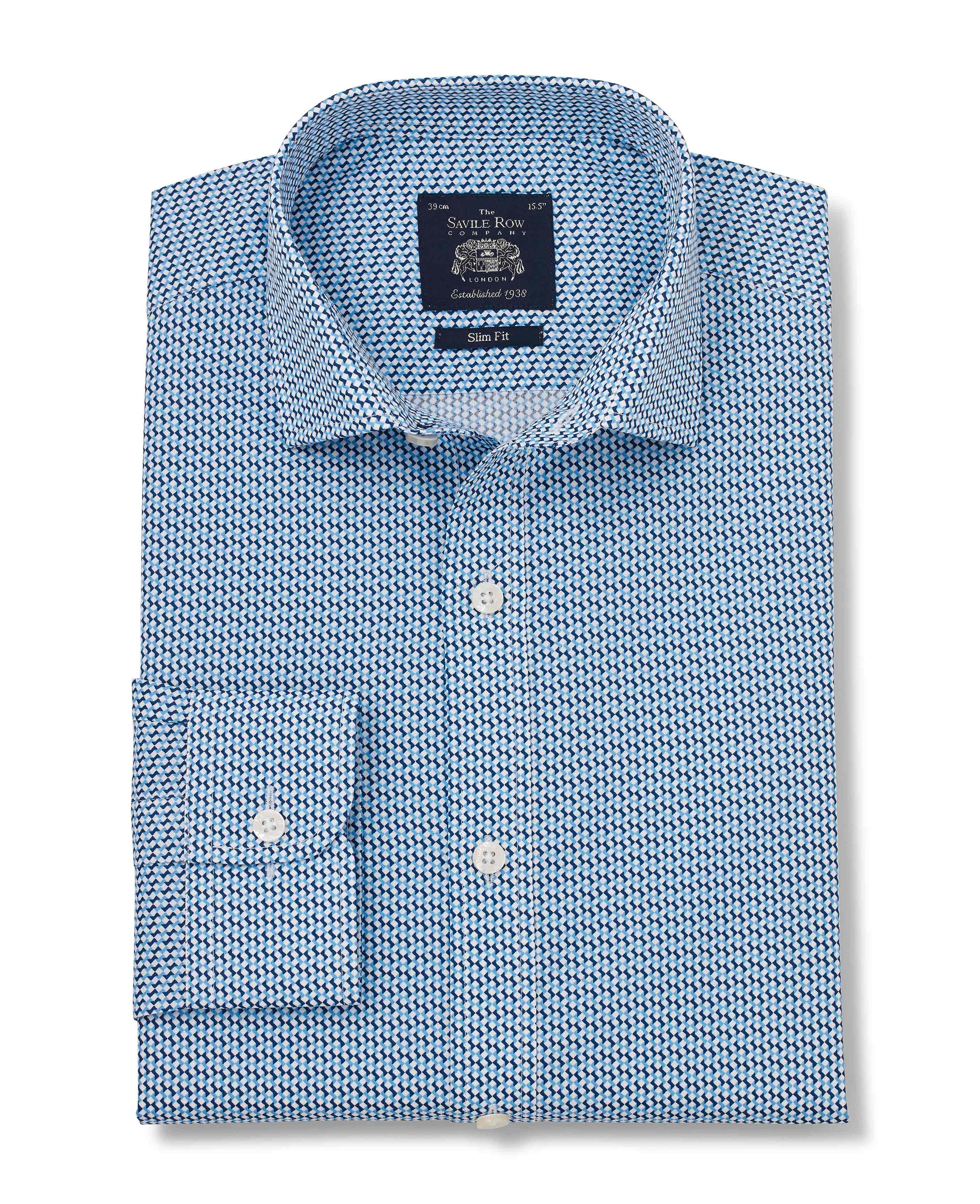 Savile-Row-Men-039-s-White-Blue-Geo-Print-Slim-Fit-Shirt-Single-Cuff