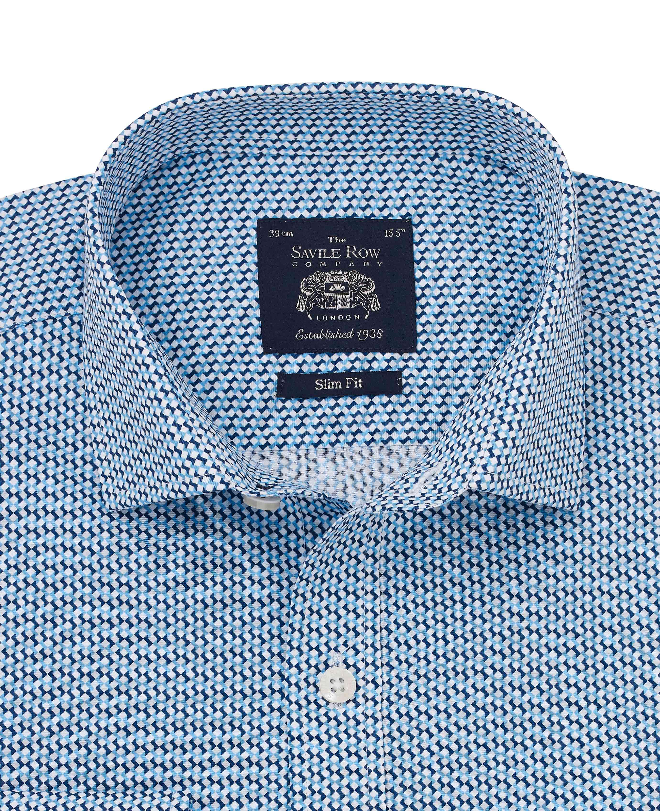Savile-Row-Men-039-s-White-Blue-Geo-Print-Slim-Fit-Shirt-Single-Cuff thumbnail 3