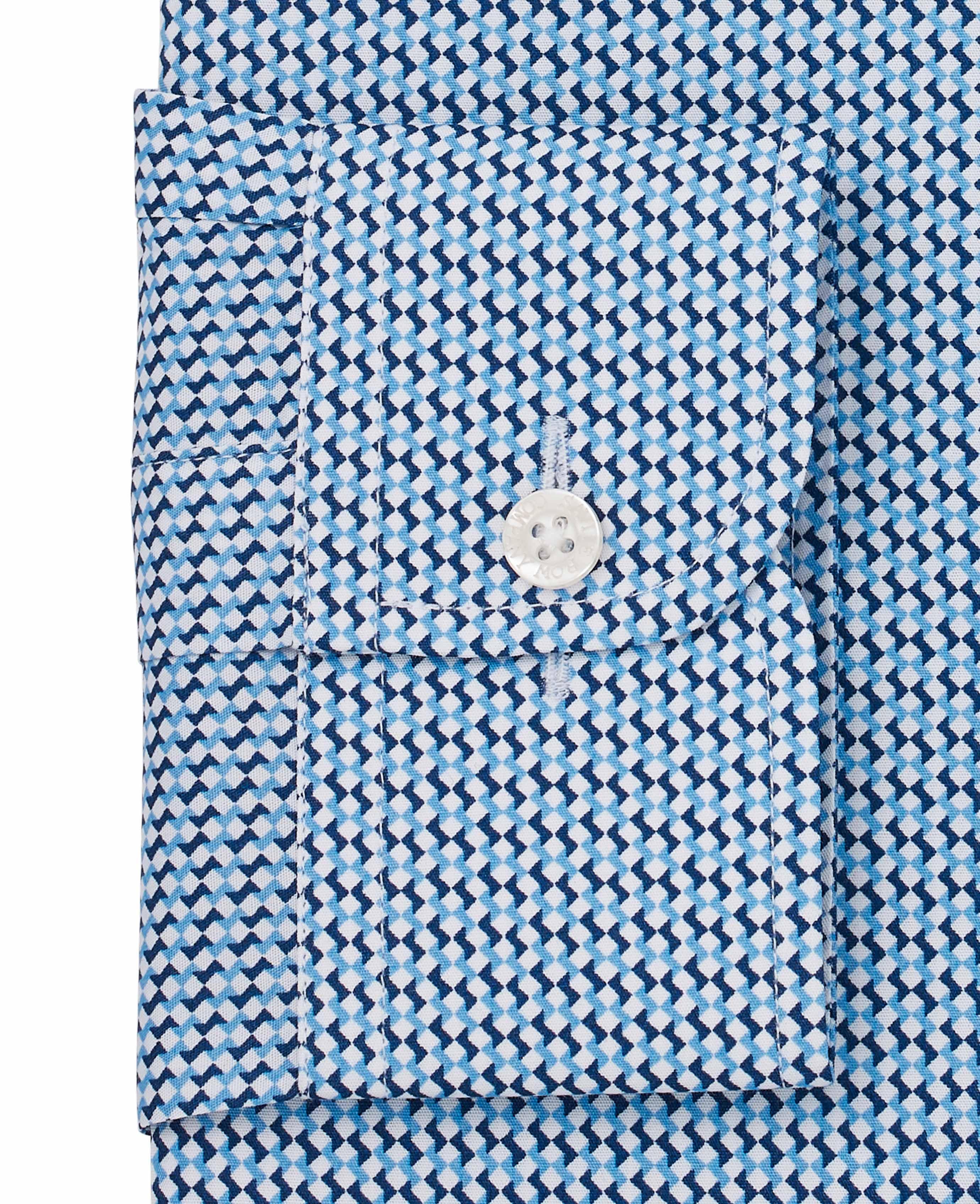 Savile-Row-Men-039-s-White-Blue-Geo-Print-Slim-Fit-Shirt-Single-Cuff thumbnail 4
