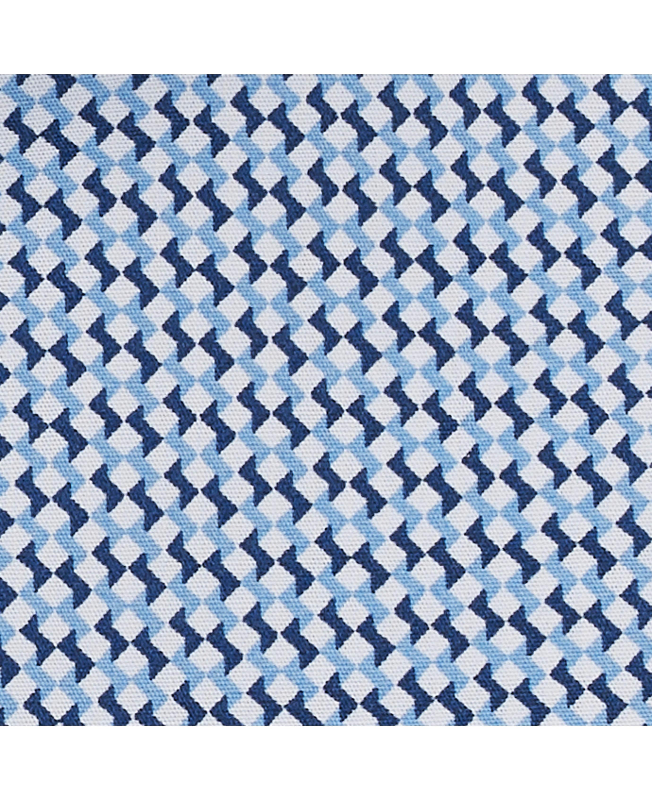 Savile-Row-Men-039-s-White-Blue-Geo-Print-Slim-Fit-Shirt-Single-Cuff thumbnail 5