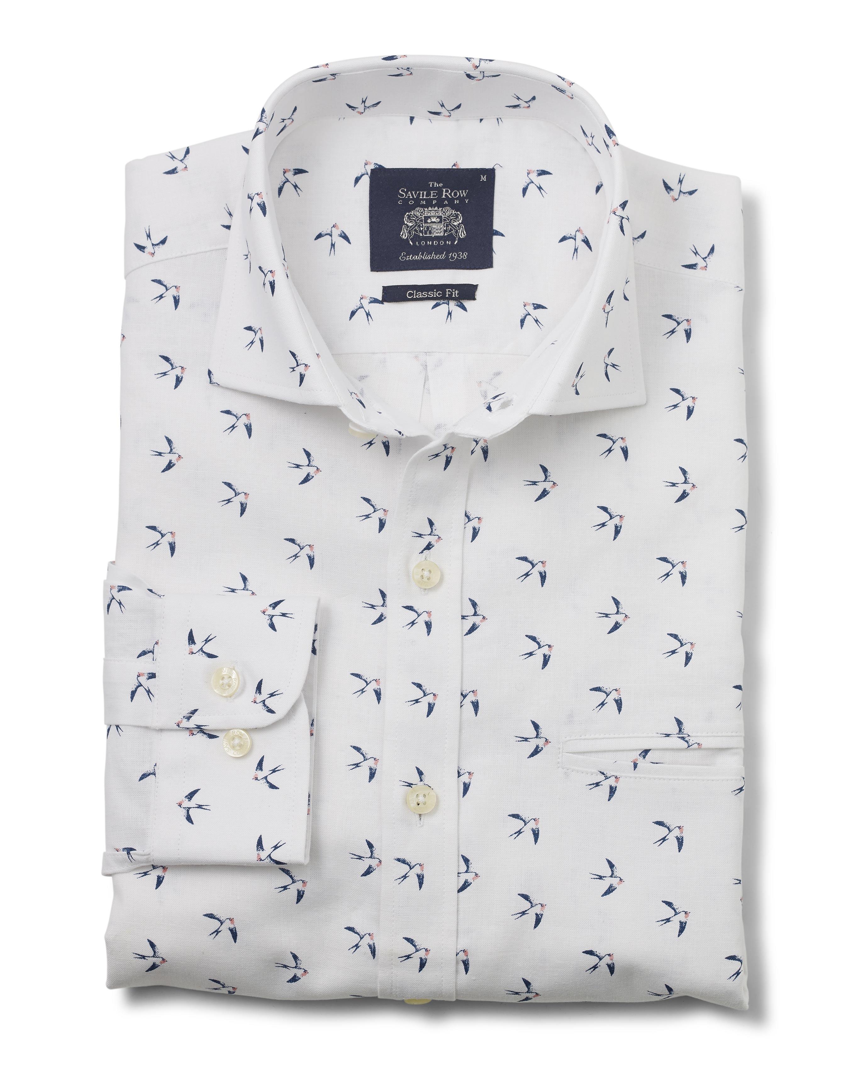 100% QualitäT Savile Row Men's White Swallow Print Linen-blend Classic Fit Shirt