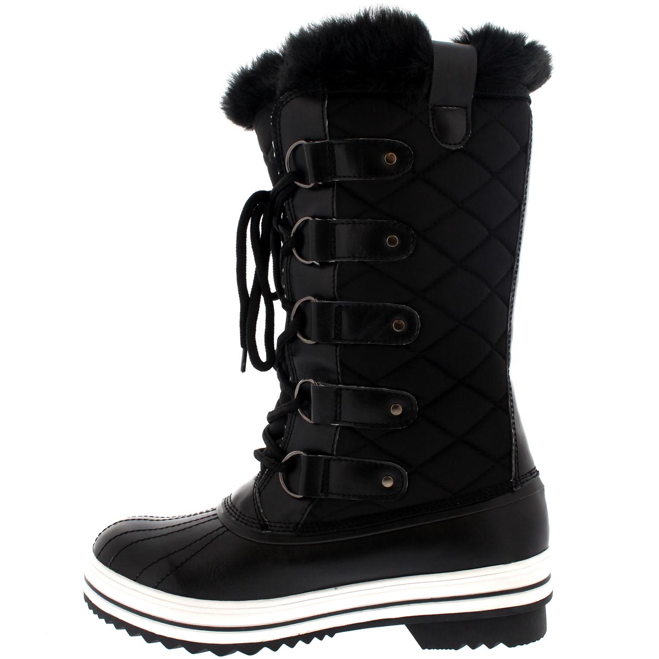 Ladies Snow Boot Nylon Tall Winter Waterproof Fur Lined ...