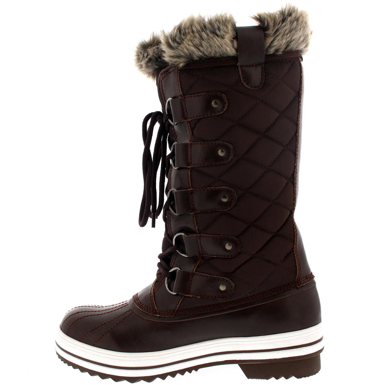 Ladies Snow Boot Nylon Tall Winter Waterproof Fur Lined