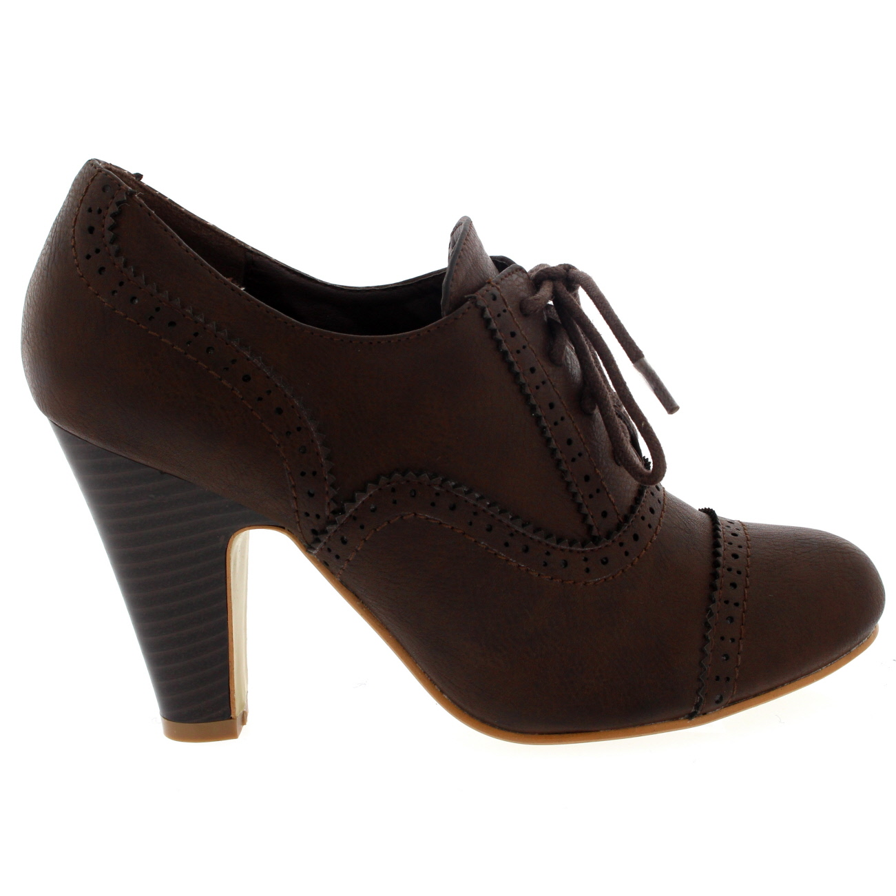 6ed2da659c1 Details about Ladies Mary Jane Brogue Lace Up Ankle Boot Cuban Heel Work  Office Shoe All Sizes