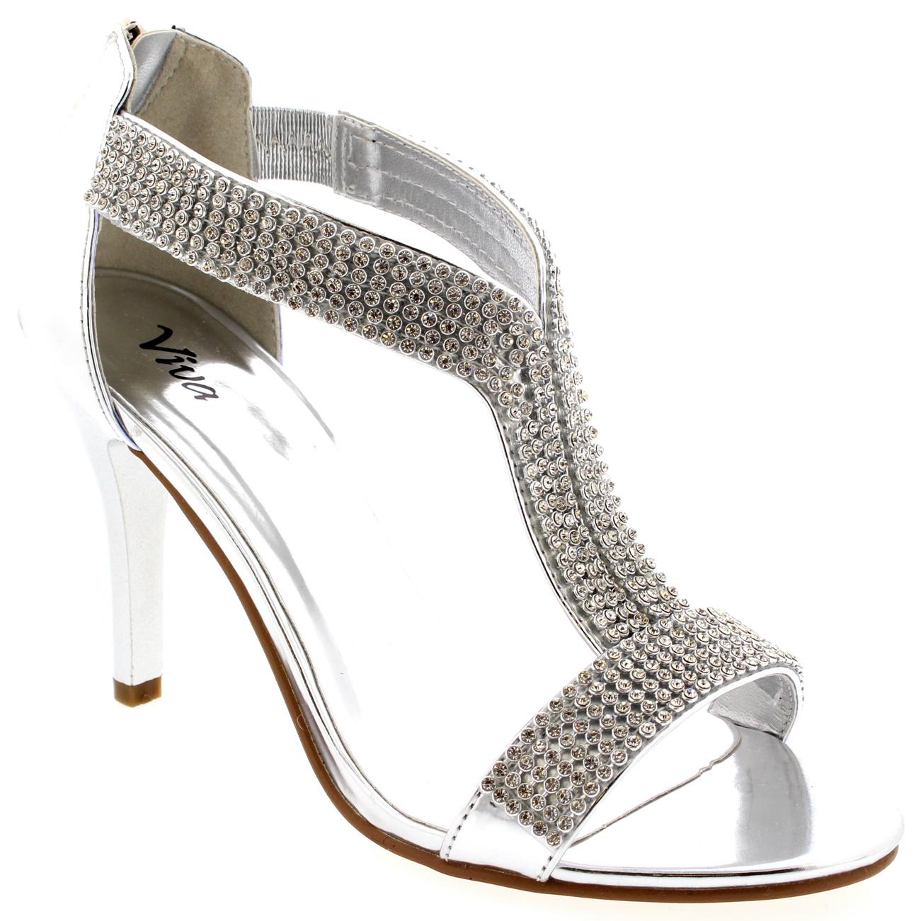 Ladies T-Bar Bridal Diamond Dress Metallic Silver Wedding