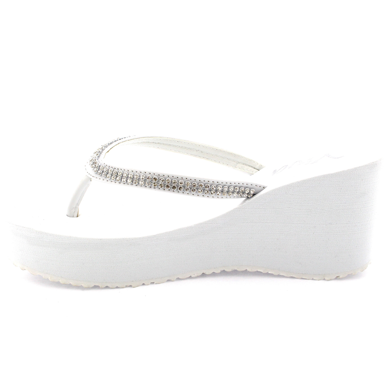 d20654c9e Ladies Holiday Diamond Flatform Slip On Wedge Heel Flip Flops ...