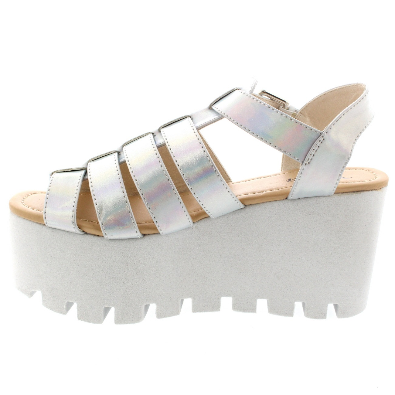 e0db794bf0a Ladies Buckle Hologram Flatform Shoes Platform Gladiator Wedge ...