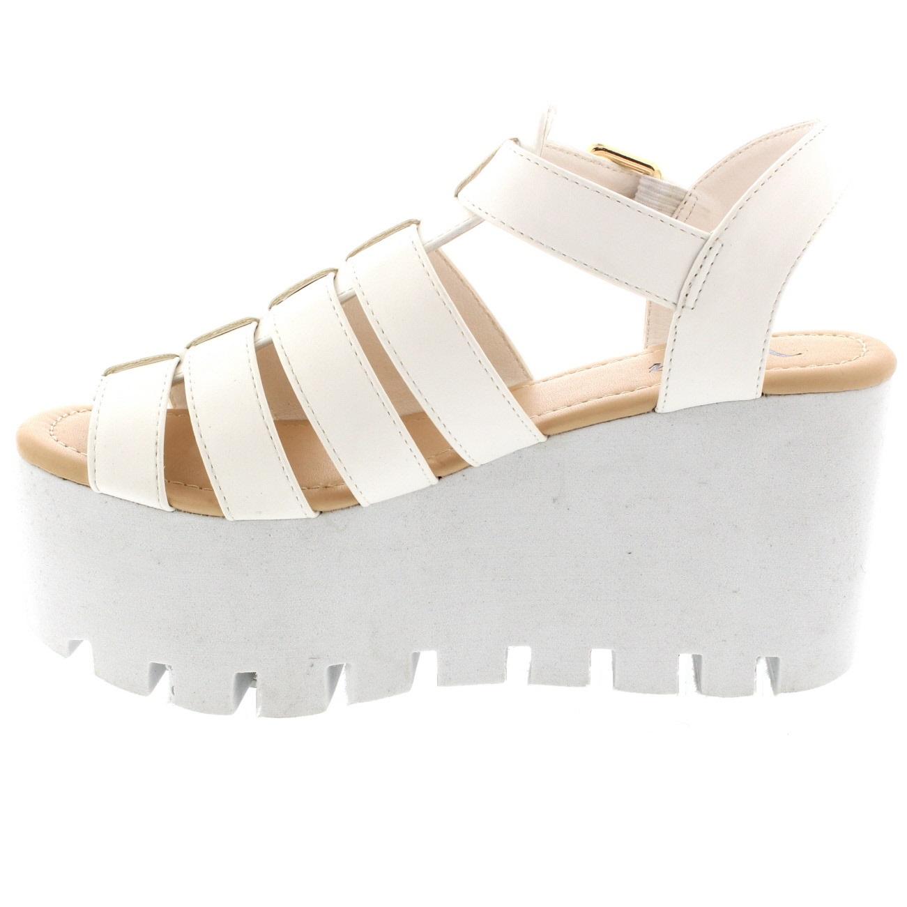 524cc1fd94bd Ladies Buckle Hologram Flatform Shoes Platform Gladiator Wedge ...
