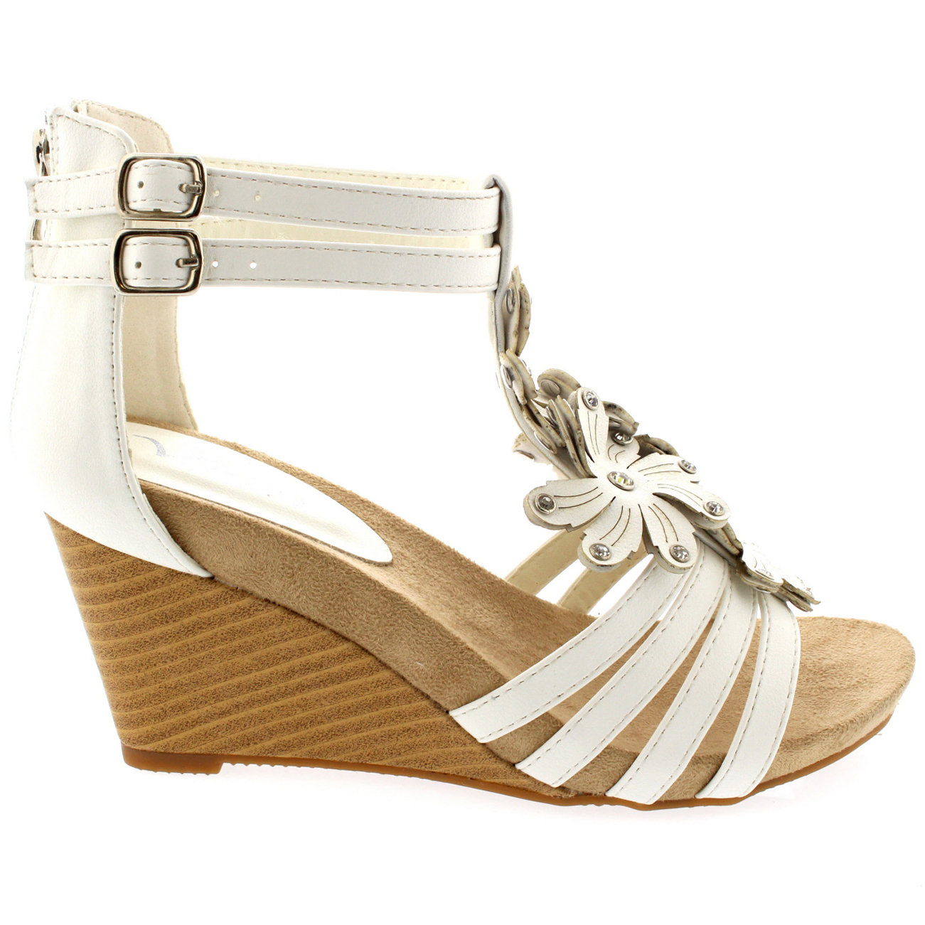 Ladies Floral Diamond Low Wedges Open Toe Buckle Roman Strappy Sandals All Sizes