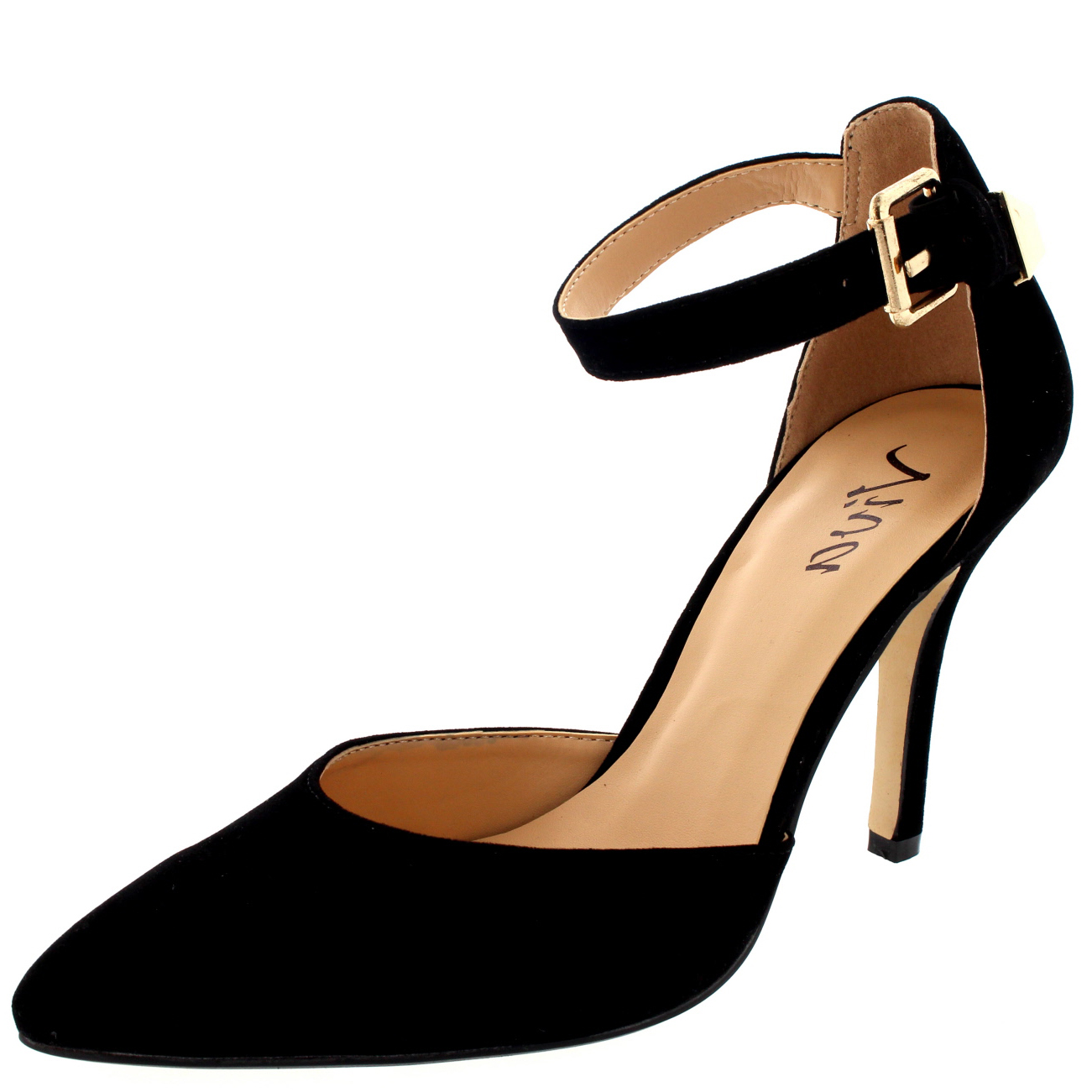 Black Suede Ankle Strap Court Shoes