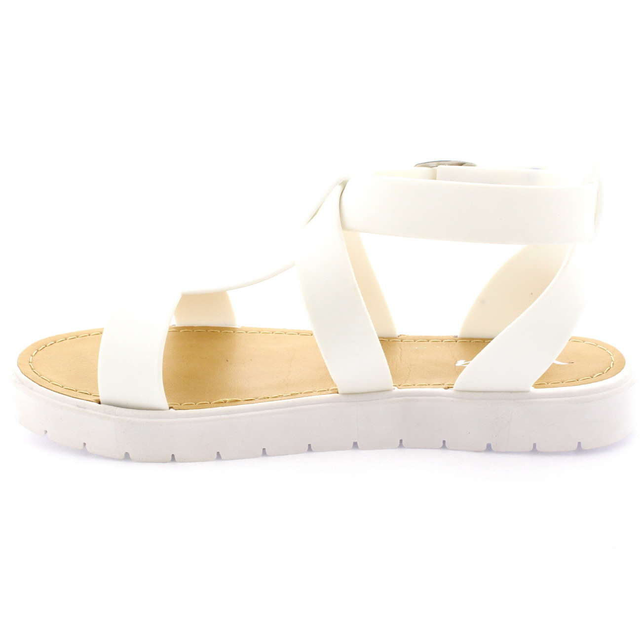 6a9bb0d0162b Ladies Open Toe Shoes T-Strap Flatform Jelly White Cleated Sole ...