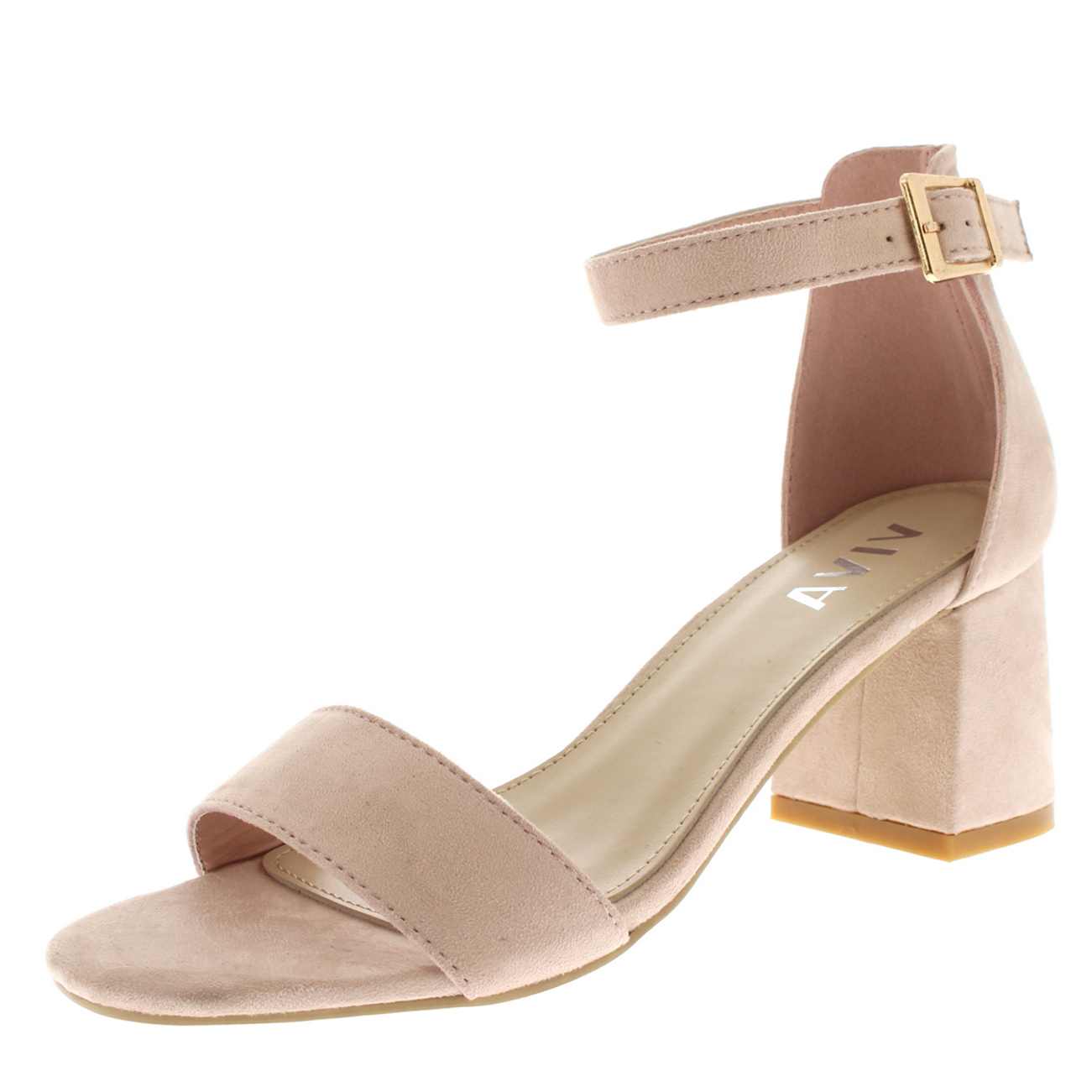 00345e47a Ladies Sandal Cut Out Block Heel Open Toe Barely There Ankle Strap ...