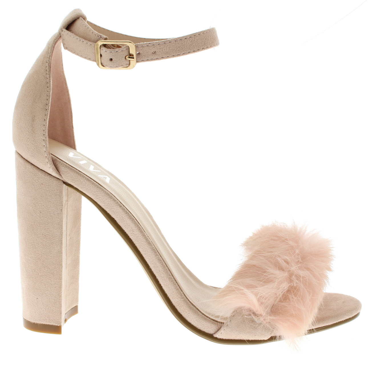Ladies Evening Block Heel Fashion Cut Out Party High Heels Fluffy ...