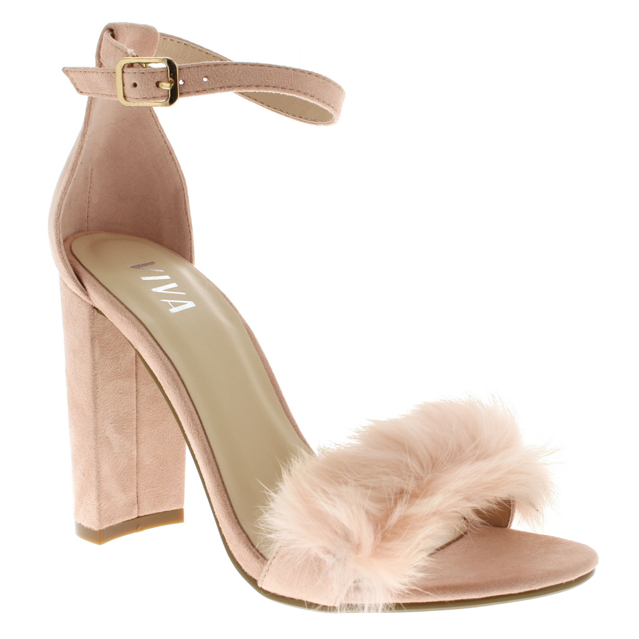 f1a5d1af78e Ladies Evening Block Heel Fashion Cut Out Party High Heels Fluffy Pumps