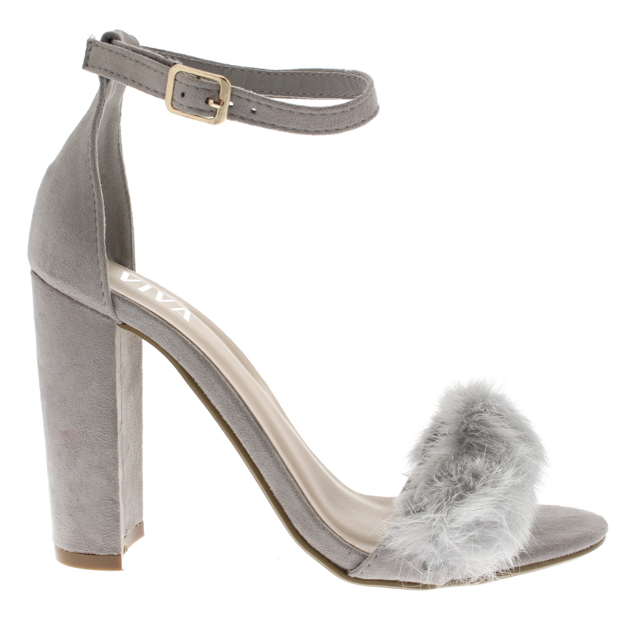 5deaa5f364b Ladies Evening Block Heel Fashion Cut Out Party High Heels Fluffy Pumps