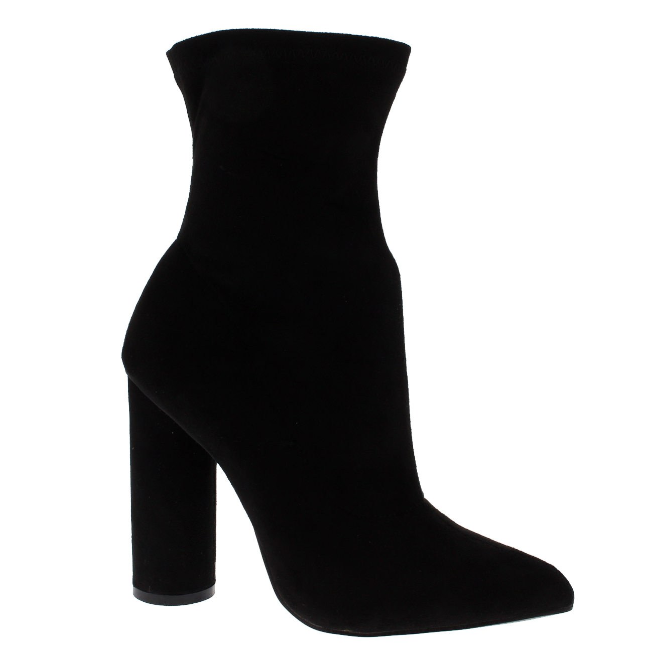 2e02c689430 Womens Sock Fit Pointed Toe Fashion Chic Dress Block Heel Ankle Boots