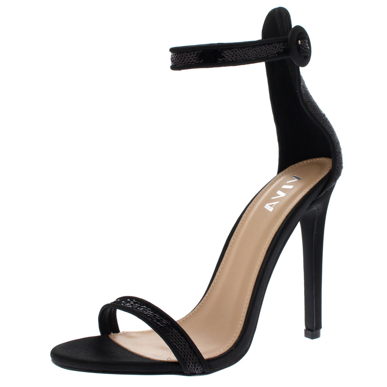 Ladies Strappy Stiletto Cut Out Open Toe Sequin Sassy Chic High Heels All Sizes