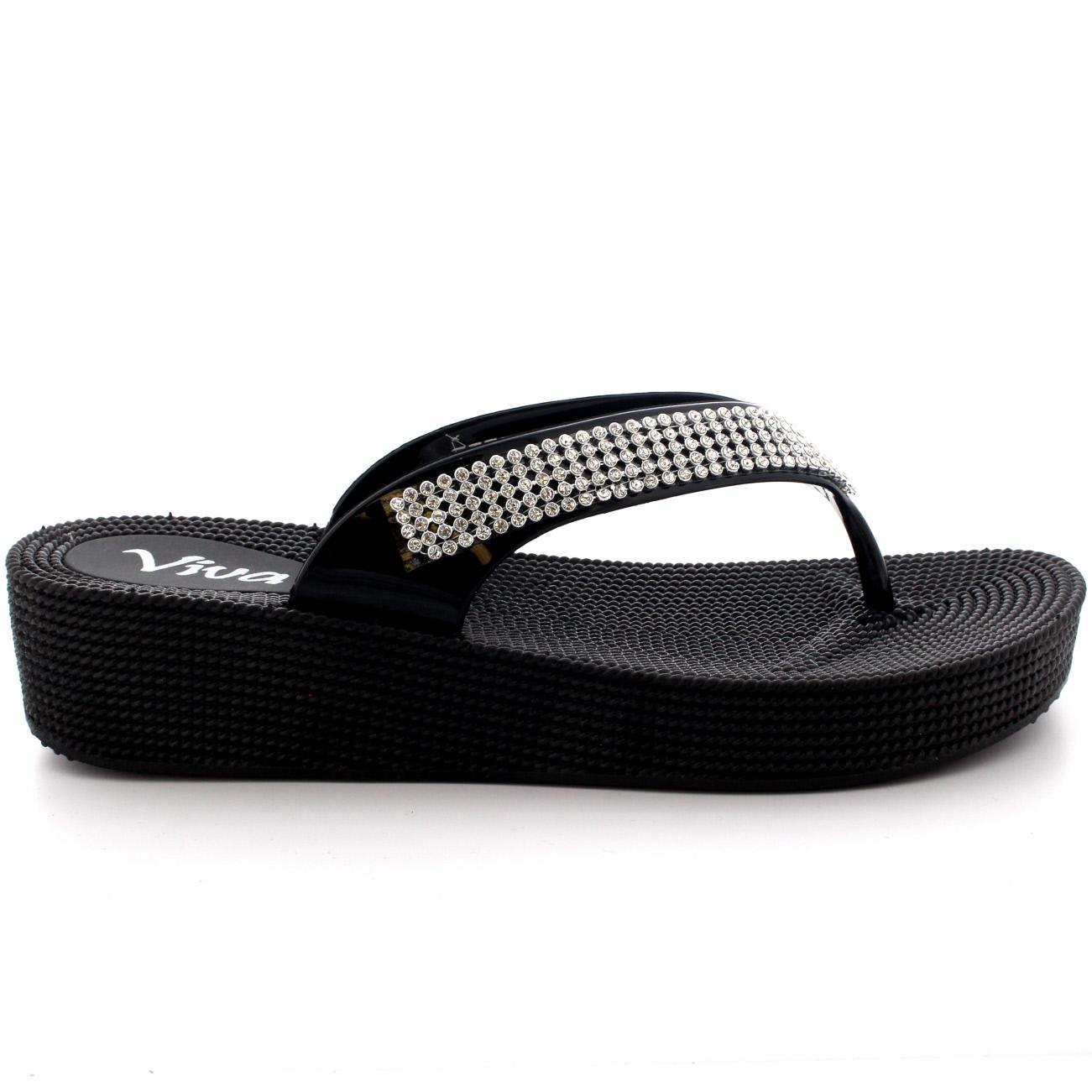 Señoras Toe Post con Tiras Tacón Bajo Zapato De Jalea Diamante Sandalias Flip Flop todos los tamaños