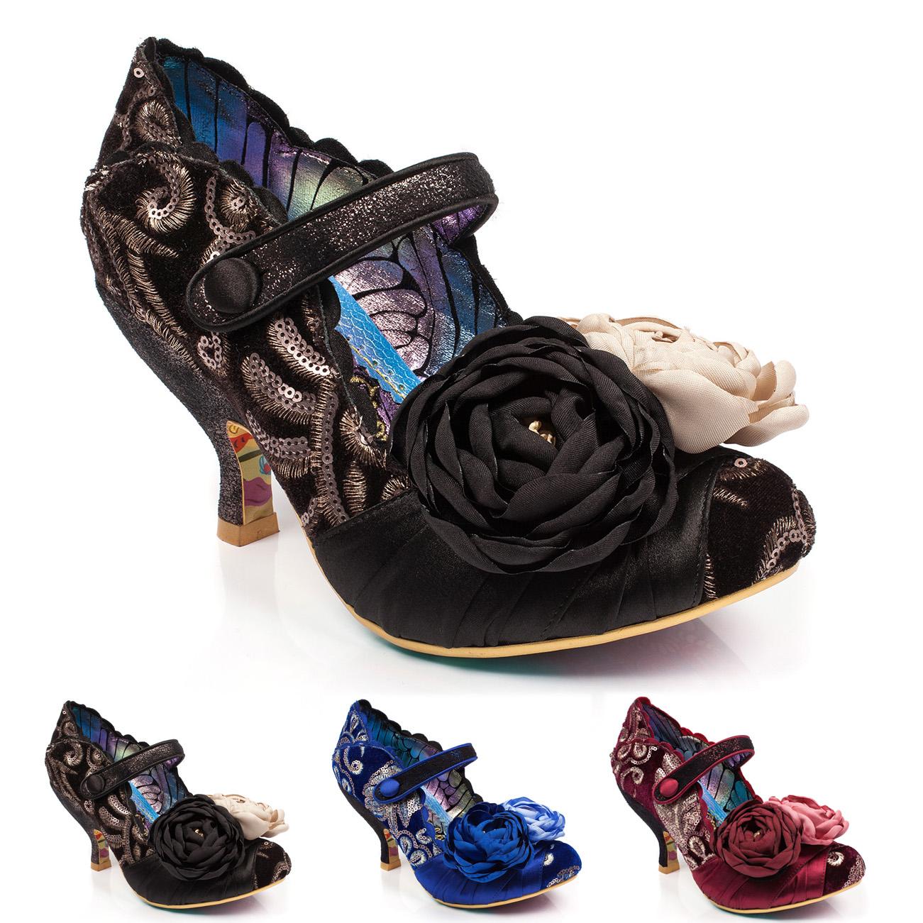 57c4215632c Ladies Irregular Choice Upon Thames Velvet Mid Heels Evening Shoes ...
