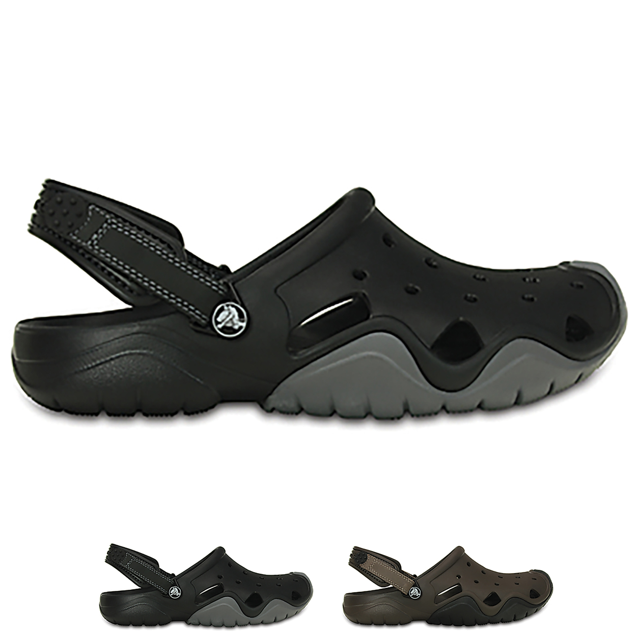 Mens Crocs Swiftwater Clog Closed Toe Pool Casual Sea Beach Sandals All Sizes